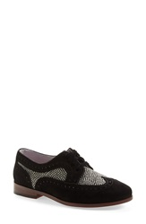 Johnston Murphy 'Dinah' Lace Up Wingtip Oxford Women Black White Suede