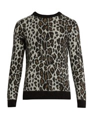 Saint Laurent Leopard Print Crew Neck Mohair Blend Sweater Grey Multi