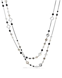 David Yurman Bead Necklace With Black Onyx And Crystal Silver