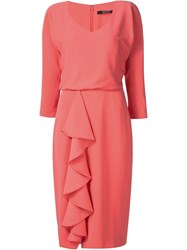 Badgley Mischka Ruffle V Neck Dress Pink And Purple