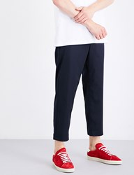 Oamc Zip Detail Tapered Regular Fit Wool Trousers Navy