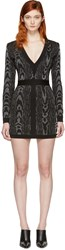 Balmain Black And White Deep V Neck Knit Dress