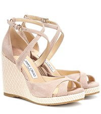 Jimmy Choo Alanah 105 Suede Wedge Sandals Pink