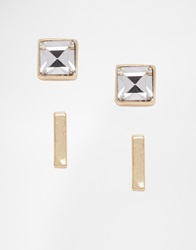 Warehouse Sparkle Stud And Bar Earrings Gold