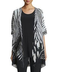 Summer Safari Short Sleeve Cardigan Women's Multi Black Caroline Rose