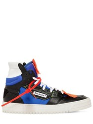 Off White 30Mm Court Leather High Top Sneakers Black Blue