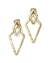 Bloomingdale's 14K Yellow Gold Hammered Front Back Triangle Earrings