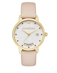 Kate Spade Metro Goldtone Stainless Steel And Vachetta Leather Strap Analog Watch Beige