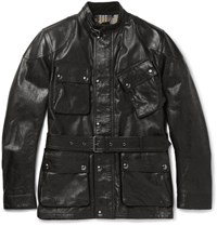 Belstaff Panther Slim Fit Belted Leather Jacket Black