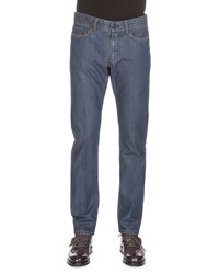 Berluti Cashmere Blend Washed Denim Jeans Blue