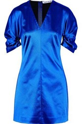 Elizabeth And James Gathered Duchesse Satin Mini Dress Bright Blue