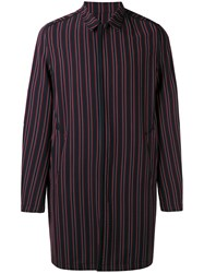Wooyoungmi Striped Coat Men Elastodiene Polyester Wool 48 Red