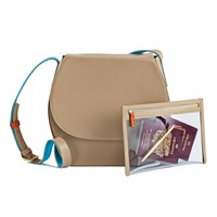 Stow Robyn Crossbody Saddle Bag And See View Travel Pouch Gift Setno Personalisation Beige