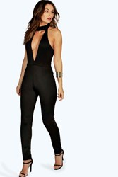 Boohoo High Neck Deep Plunge Jumpsuit Black