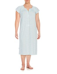 Miss Elaine Plus Flutter Sleeved Printed Sleep Gown Aqua