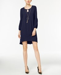 Ny Collection Petite High Low Keyhole Shift Dress With Necklace Peacoat
