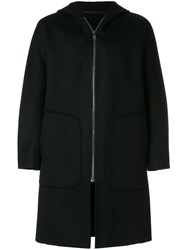 Theory Double Faced Duffle Coat Polyester Cashmere Wool Bemberg Xl Black