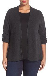 Plus Size Women's Eileen Fisher Zip Front Boxy Merino Wool Cardigan Charcoal