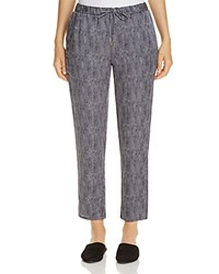 Eileen Fisher Printed Silk Drawstring Ankle Pants Midnight
