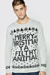 Boohoo Christmas Ya Filthy Animal Jumper Silver