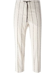 Brunello Cucinelli Embroidered Sequin Stripe Trousers Nude And Neutrals