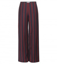 Carven Striped Wide Leg Wool Blend Trousers Red
