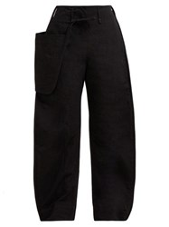 Christophe Lemaire Pouch Pocket Cotton Blend Wide Leg Trousers Black