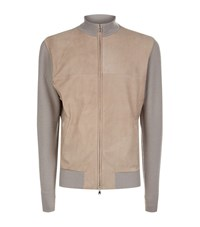 Peter Millar Suede Front Cardigan Male Tan