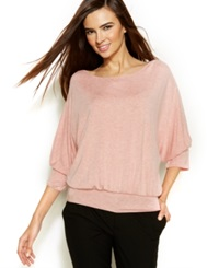 Studio M Dolman Sleeve Blouson Top Heather Petal