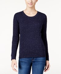 Karen Scott Cable Knit Crew Neck Sweater Only At Macy's Intrepid Blue Combo