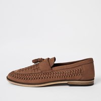 River Island Brown Leather Woven Tassel Front Loafers