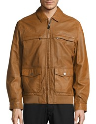 Tommy Bahama Santiago Aviator Leather Jacket Cognac