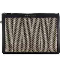 Want Les Essentiels Woven Leather Document Case Black