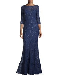 Teri Jon Sequined 3 4 Sleeve Gown Navy