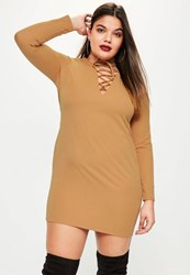 Missguided Plus Size Brown Lace Up Choker Neck Shift Dress