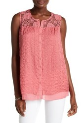 Johnny Was Embroidered Button Up Silk Tank Pink