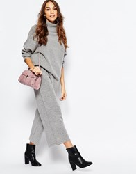 Neon Rose Knitted Wide Leg Trouser Co Ord Grey