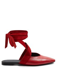 J.W.Anderson Wraparound Leather Backless Ballet Flats Red