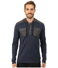 Dkny Long Sleeve Loose Knit Jasper Jersey Chambray Mix Hooded Henley River Blue Men's Clothing