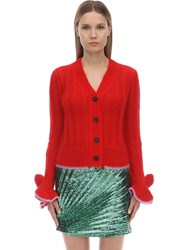Marco De Vincenzo Ruffled Mohair Blend Cardigan Red