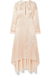 Le Kasha Turfan Asymmetric Pearl Embellished Silk Satin Dress Beige