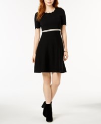 Maison Jules Scalloped Fit And Flare Dress Created For Macy's Deep Black