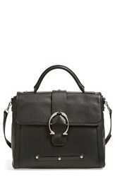 Etienne Aigner 'Barrel' Calfskin Leather Satchel Black Waxy