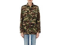 Saint Laurent Women's Camouflage Belted Field Jacket Dark Green