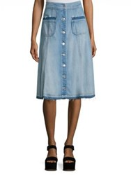 7 For All Mankind Button Front Denim Midi Skirt Luxe Lounge Coastal Blue