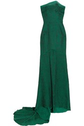 Roland Mouret Turret Strapless Cloque Gown Green