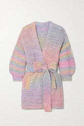 Loveshackfancy Brady Belted Striped Knitted Cardigan Lavender