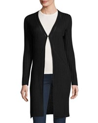 Neiman Marcus Ribbed Coverup Cardigan Black