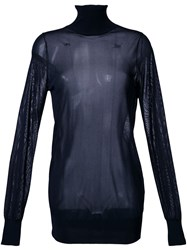 Theatre Products Roll Neck Transparent Top Blue