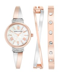 Anne Klein Ak2245rtst Swarovski And Mixed Metal Watch And Bracelet Set Rose Gold